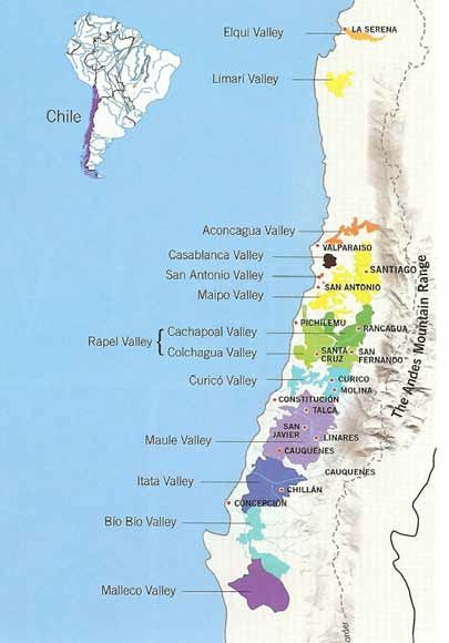 Recently Tasted Chilean Pinot Noir The PinotFile Volume Issue - Chile regions map